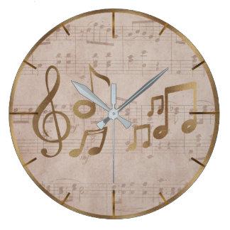 Grande Horloge Ronde Notes principales vintages de musique de solénoïde