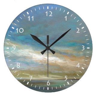 Grande Horloge Ronde Nuages côtiers avec l'océan