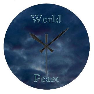 Grande Horloge Ronde Nuages de bleu de paix du monde
