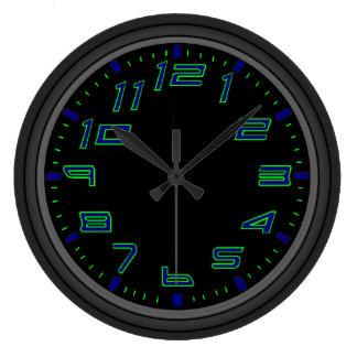 Grande Horloge Ronde Nuits au néon bleues et vertes