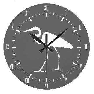 Grande Horloge Ronde Oiseau blanc côtier élégant et gris de héron
