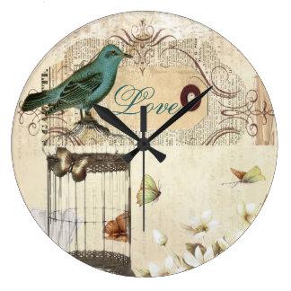 Grande Horloge Ronde oiseau français vintage moderne de cage à oiseaux
