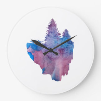 Grande Horloge Ronde Oiseaux sur une île de flottement