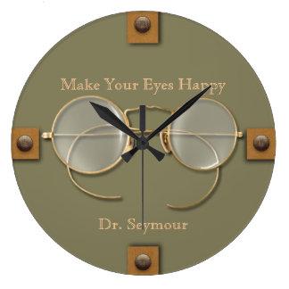 Grande Horloge Ronde Ophtalmologue, optométriste, lunettes d'opticien