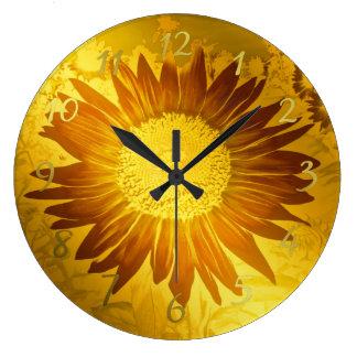 Grande Horloge Ronde or, brillant, moderne, style, coloré, tournesol