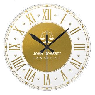 Grande Horloge Ronde Or élégant et blanc de l'avocat  