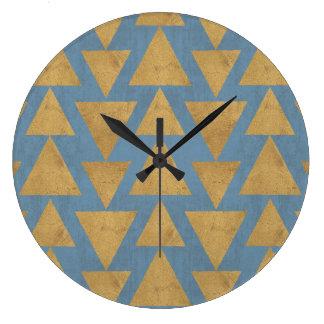 Grande Horloge Ronde Or extérieur d'étape   de Geo et motif bleu