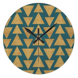 Grande Horloge Ronde Or extérieur d'étape   de Geo et motif turquoise