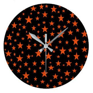 Grande Horloge Ronde Orange étoilée de nuit étoilée