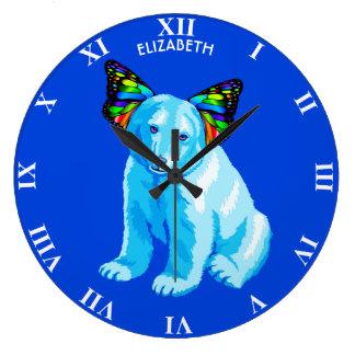 Grande Horloge Ronde Ours blanc psychédélique avec le cool d'oreilles