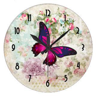 Grande Horloge Ronde Papillon rose et roses vintages minables
