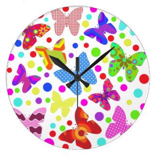 Grande Horloge Ronde Papillons et pois mignons de Corourful