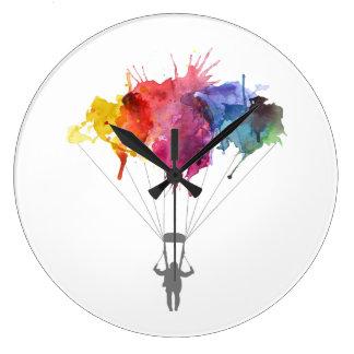 Grande Horloge Ronde Parachutiste, parachute. Sport de parachutisme.