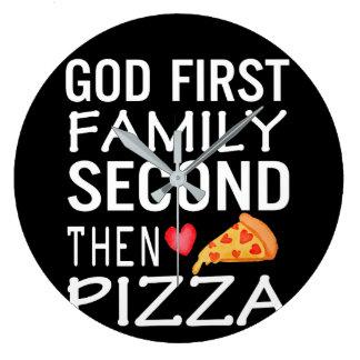 Grande Horloge Ronde Passion de pizza de famille deuxièmes de Dieu