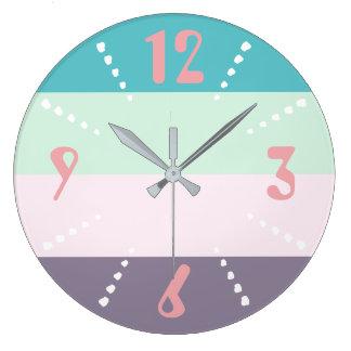 Grande Horloge Ronde Pastel coloré