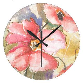 Grande Horloge Ronde Pavots mous I