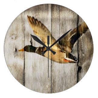 Grande Horloge Ronde Pays occidental en bois de grange rustique