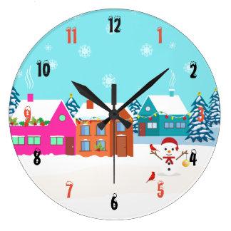 Grande Horloge Ronde Paysage élégant de bonhomme de neige de Noël