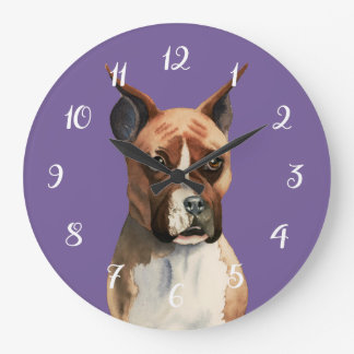 Grande Horloge Ronde Peinture d'aquarelle de chien de boxeur
