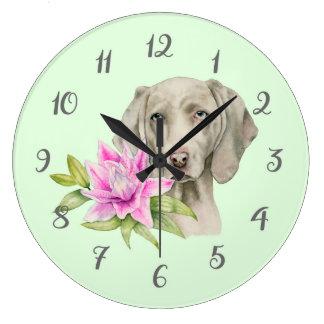 Grande Horloge Ronde Peinture d'aquarelle de chien et de lis de