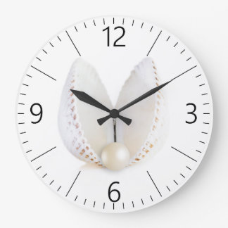 Grande Horloge Ronde Perle et coquillage