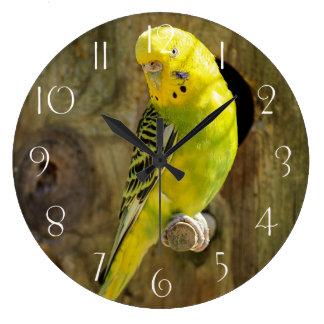 Grande Horloge Ronde Perruche jaune