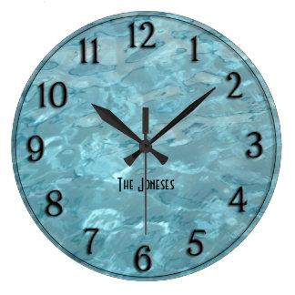 Grande Horloge Ronde Personnalisez : L'eau de piscine - abrégé sur été
