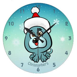 Grande Horloge Ronde Petit chiot mignon avec la bande dessinée de