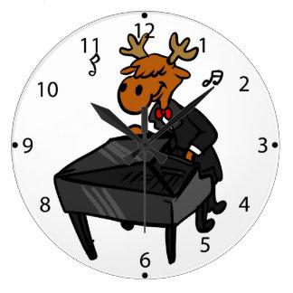 Grande Horloge Ronde Pianiste d'orignaux