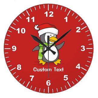 Grande Horloge Ronde Pingouin de Noël marchant sur la neige