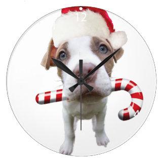 Grande Horloge Ronde Pitbull de Noël - pitbull de père Noël - chien de