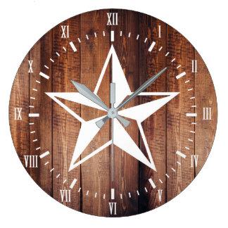 Grande Horloge Ronde Planches nautiques blanches en bois de grange