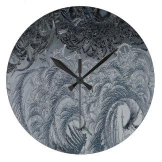 Grande Horloge Ronde Plumes abstraites de gris d'arrière - plan
