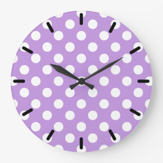 Grande Horloge Ronde Pois blanc sur le lilas