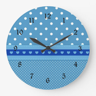 Grande Horloge Ronde Pois bleu et blanc fait sur commande avec des