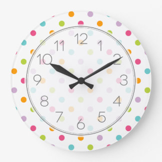 Grande Horloge Ronde Pois coloré Girly mignon
