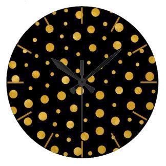 Grande Horloge Ronde Pois élégant - or noir