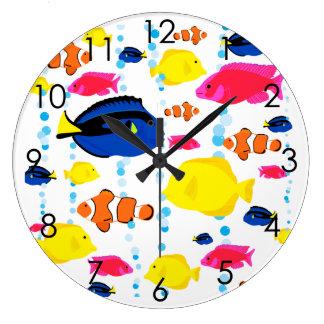 Grande Horloge Ronde Poissons tropicaux colorés mignons