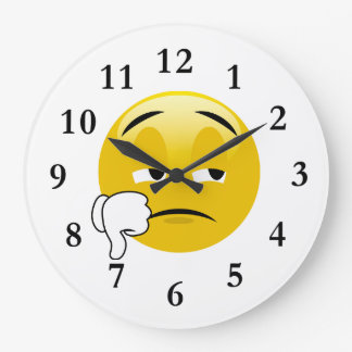 Grande Horloge Ronde Pouces d'Emoji vers le bas