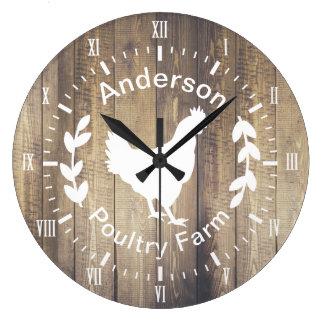 Grande Horloge Ronde Poule rustique et nom de famille de ferme avicole