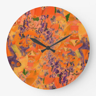 Grande Horloge Ronde Pourpre et arrière - plan abstraits colorés de