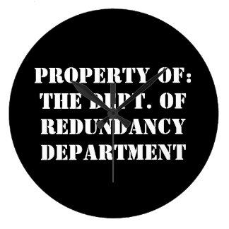 Grande Horloge Ronde Propriété de département de redondance