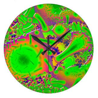 Grande Horloge Ronde Psychédélique dichroïque au néon