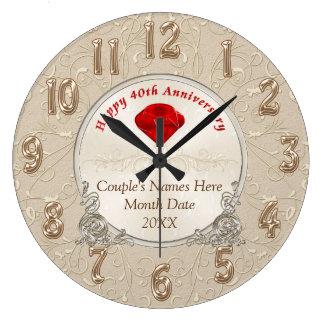 Grande Horloge Ronde Quarantième cadeaux personnalisés d'anniversaire