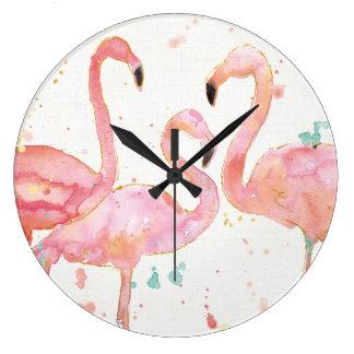 Grande Horloge Ronde Rassemblement tropical de | des flamants