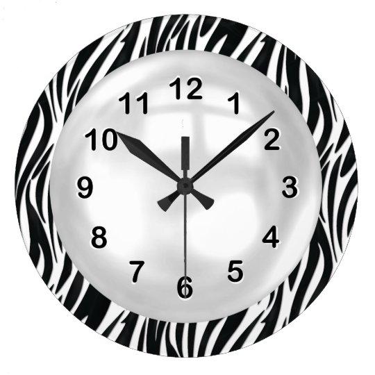 grande horloge ronde rayure blanche noire de z bre d 39 horloge murale
