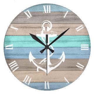 Grande Horloge Ronde Rayures nautiques en bois et ancre de plage