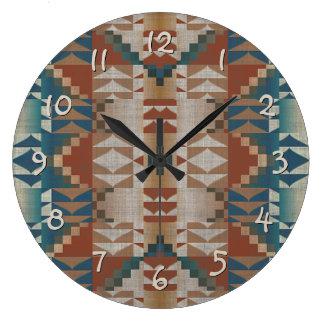 Grande Horloge Ronde Regard ethnique éclectique bleu turquoise orange
