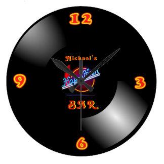 Grande Horloge Ronde Repaire au néon Mancave de barre de rétro de