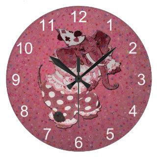 Grande Horloge Ronde Rétro éléphant rose de cirque